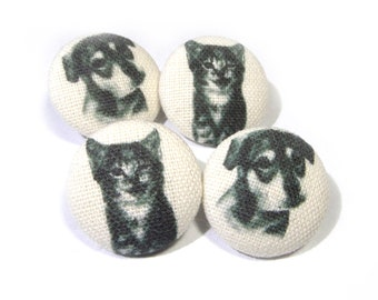 Fabric covered buttons Cats Kitten puppy, bag purse ivory buttons, funny cat buttons, children kids buttons, sewing buttons, sweater buttons