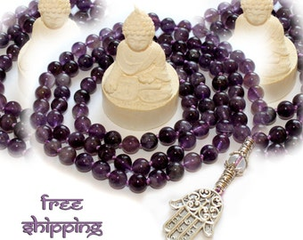 Japa Mala 108 Hand Knotted Gemstone Amethyst  8mm Prayer Yoga Necklace for Meditation and Mantra - Free Shipping