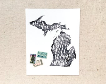 """Hand lettered Michigan art print, watercolor in black, grey / """"if you seek a pleasant peninsula, look about you"""" / Christmas gift"""