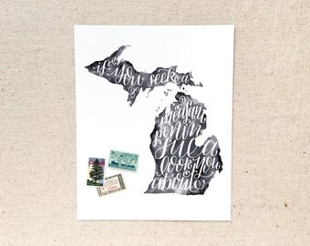 "Hand lettered Michigan art print, watercolor in black, grey / ""if you seek a pleasant peninsula, look about you"" / Christmas gift"