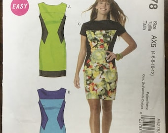 Vintage Lined Bodycon Dresses Pattern // McCall's 6278, Size 4-6-8-10-12, unused, Easy