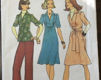Vintage 1970s Dress or Top and Pants // Simplicity 7049 Size 6 & 8, wide leg pants, unused