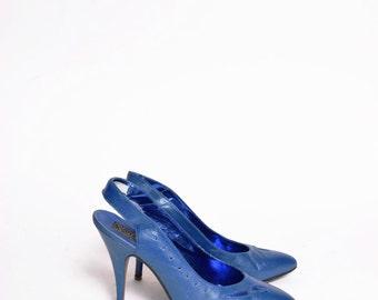 Vintage 90's Azure Blue Slingback Heels