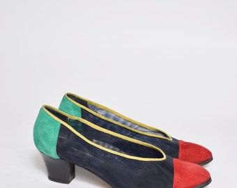 Vintage 90's Red Green and Blue Suede Mesh Chunky Heel Shoes
