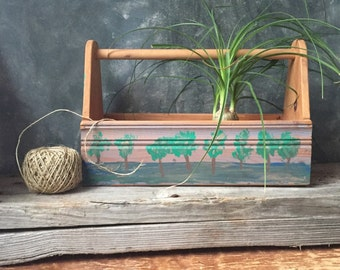 Wood Tool Box: Vintage Wooden Tool Caddy, Hand Painted Tote Box, Wood Tool Carrier, Carry All Organizer, Home Organization