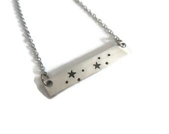 Zodiac Asterisms Constellation Bar Necklace Hand Stamped