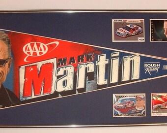 Vintage NASCAR driver #6, Mark Martin AAA pennant & cards...Custom Framed!