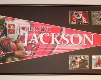 Tampa Bay Buccaneers Vincent Jackson Pennant & Cards...Custom Framed!!!