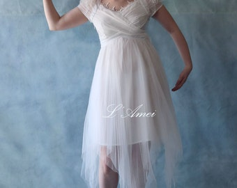 Short Knee Length  Multi Layer Tulle Wedding Dress with Flower Cap Sleeves - AM1922151