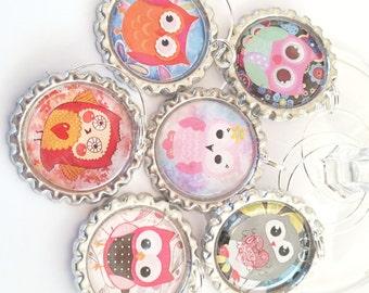 Owls Wine Charms, Wine Glass Charms, Wine Charms, Drink Charms Owls, Owls Barware, Owls Charms, Entertaining Owl Charms, Set of 6