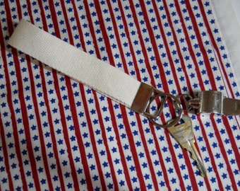 Key Fob in Cotton Webbing Natural Color
