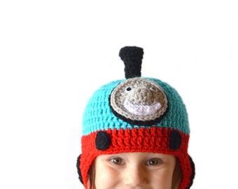 Boys Crochet Train Hat, Train Knit Hat, Boys Knit Hat, Toddler Boys Hat, Train Beanie, Boys Winter Hat, Silly Crochet Hat, Kids Train Hat