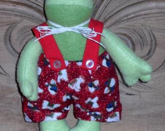 Adorable 100% hand-sewn festive frog.