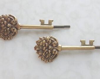 Sale - Secret Garden Key Bobby Pins, Antiqued Gold Brass, Victorian Floral Hair Pins, Woodland Rustic Nature, The Secret Garden Book Lover