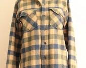 Vintage Woolrich Plaid Shirt Mens size S Wool blend teal blue green beige