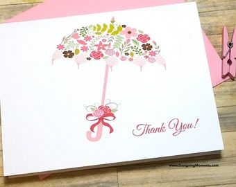 Bridal Shower Thank You Note Card Set - Wedding Shower Cards - Bridal Thank You Cards - Floral Umbrella Shower Thank You Card Set DM173