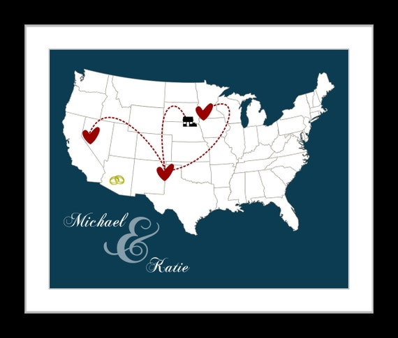 Traveling To The United States: Custom US Map With Hearts United States Wall Art Print Unique