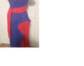Unique Vintage Mad Men-inspired denim and red polka dot dress with sash size 10