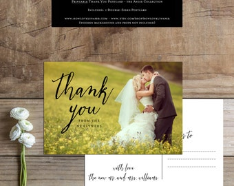 Printable Wedding Thank You Postcard - the Angie Collection