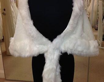 Winter Wedding Faux Fur Ivory Cape/Wrap