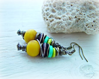 African Earrings - African Jewelry - Tribal Earrings - Boho Yellow Earrings - Hippie Earrings - Eco Earrings - Boho Hippie Earrings
