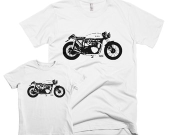 Cafe Racer Matching Father Son Shirts, Vintage Motorcycle Fathers Day T-shirt, Motorbike Father Son Matching Shirts, Big Man Little Man