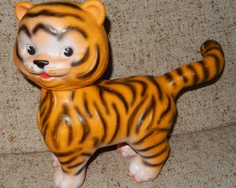 Vintage Edward Mobley Stripes the Friendly Tiger Toy from 1965 - Made by Arrow