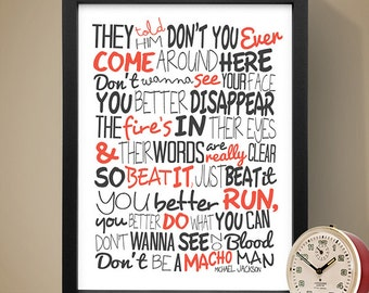 Michael Jackson - Beat It / Song Lyric Typography Poster, Music Poster