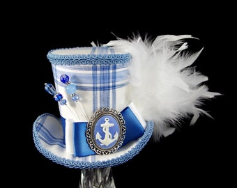 Blue and White Plaid Nautical Anchor Cameo Empress Collection Large Mini Top Hat Fascinator, Alice in Wonderland Mad Hatter Tea Party, Derby