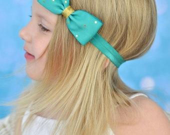 Teal and Gold Headband, Teal Headband, Teal Hair Bow, Teal Bow, Teal and Gold Bow, Teal Bow Headband, Teal Flower Girl Headband, Flower Girl