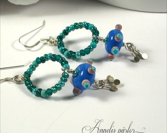 SRA handmade lampwork beads and sterling silver wire earrings, Artisan lampwork jewelry, lampwork earrings, boho, gift idea