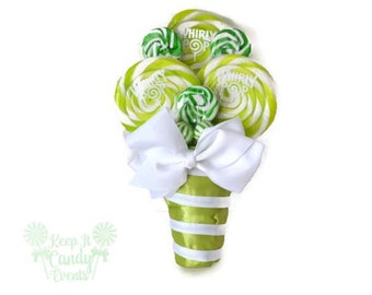 Small Green Lollipop Bouquet, Small Lollipop Bouquet, Small Candy Bouquet, Green Bridesmaid Bouquet, Green Wedding, Spring Wedding Ideas