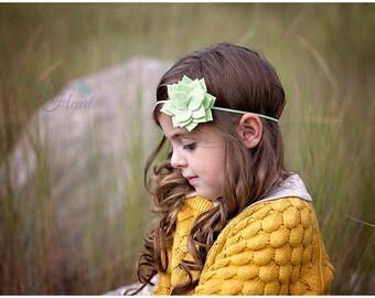 Felt Flower Headband - Succulent Headband - Green Succulent Flower - Felt Flower - Felt Headband - Headbands for Girls - Felt Headband Baby