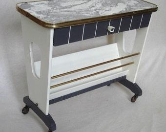 50s 60s ROLLING END TABLE, Coffee Table, White & Dark Grey, w/ Magazine Rack, Mid Century Modern,Germany