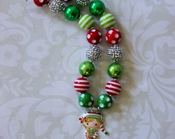 girls christmas chunky necklace silver red green christmas necklace bubblegum necklace toddler red green holiday girls chunky bead necklace
