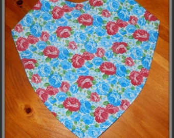 Adjustable Blue Floral Bandanna Bib for Teens and Adults