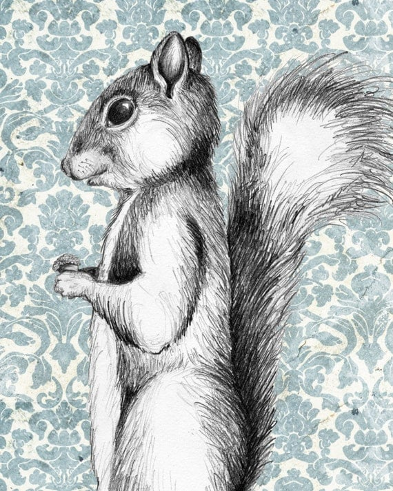 "8x10 Print ""Oh Look! He Brought You An Acorn"" Squirrels. Animals. Cute. Vintage look. Graphite. Pencil. Drawing."