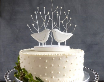 White Wedding Cake Topper,  Bridal Topper with Love Birds Topper, Tree Cake Topper Birds, White Wedding Topper