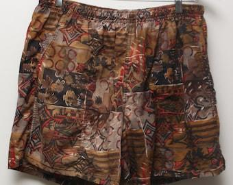"Rare 90's Vintage ""SPEEDO"" Cotton Multicolored Patterned Swim Shorts Sz: MEDIUM (Men's Exclusive)"