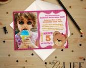 Teddy Bear Stuffed Build a Bear Inspired Photo Birthday Invitation Printable DIY No. I141