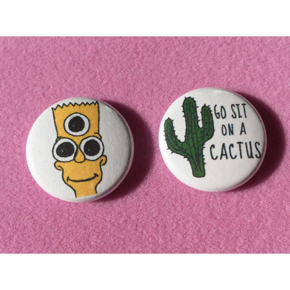 Bart Simpson Cactus Button Pack 1 Alien Bart Simpson