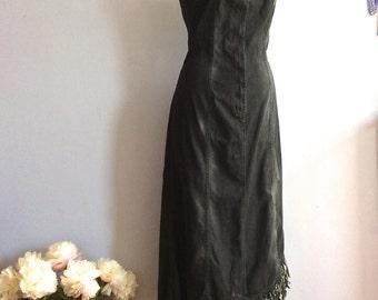 Vintage Plein Sud washed denim tube dress fringed hem assymetric hem black denim bodycon strapless dress 80s Plein Sud Jeans wiggle dress