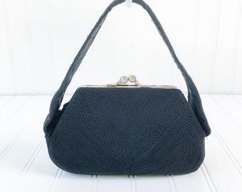 vintage 1940s black cord mini purse / art deco WWII era clutch / vtg 40s handbag / pinup black purse