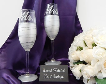 Personalised Wedding Gifts For Bride And Groom Australia : ... gift set bride and groom glasses white wedding glass personalised gift