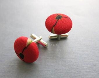 Valentines Gift - Red Poppy Eye Cufflinks - Button Cufflinks