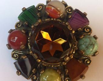 vintage Miracle Scottish faux gemstone/rhinestone brooch