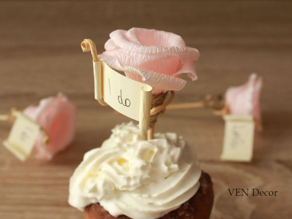 Wedding Cupcake Toppers 12 Flower Decoration Bridal Shower Topper Custom From