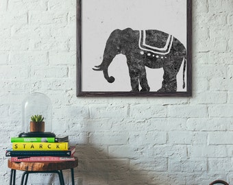 Elephant Wall Art, Cafe Art Print, Modern Art, Retro Style, Abstract Print, Minimalist, Living Room, Loft, 5x7 8x10 11x14 A3 A4 A5, D049