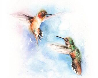TWO HUMMINGBIRDS PRINT - rufous hummingbird, watercolor hummingbirds, two birds, hummingbird decor, watercolor birds, hummingbird art
