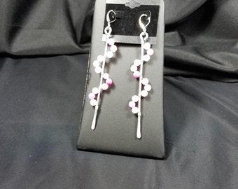 Wire Wrap Pink Earrings